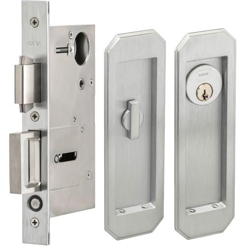 Pocket Door Lock with Traditional Trim featuring Turnpiece and Keyed Entry in (US26D Satin Chrome Plated)