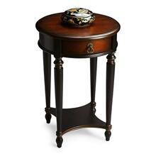 Elegance and versatility make this table a great addition to virtually any space. Hand painted in black and crafted from poplar hardwood solids and wood products, it features a rich, contrasting, hand rubbed cherry veneer top and drawer front with a lightly distressed finish. Includes one drawer with aged brass hardware and a lower display shelf.