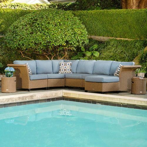 Nolin 7pc Sectional Plus 2 Side Tables and 1 Ottoman w/ Blue Cushion