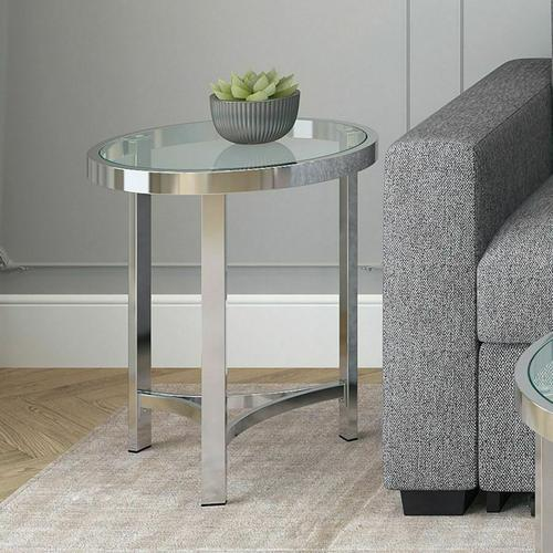 Worldwide Homefurnishings - Strata Accent Table in Chrome