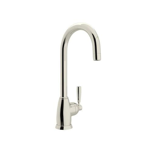 Holborn Single Hole Bar and Food Prep Faucet with C Spout - Polished Nickel with Metal Lever Handle