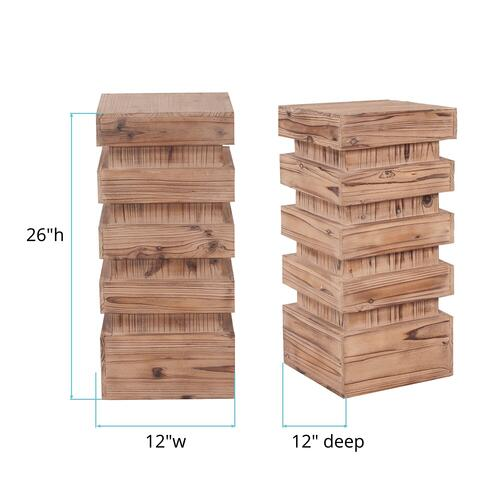 Howard Elliott - Stepped Natural Wood Pedestal - Medium