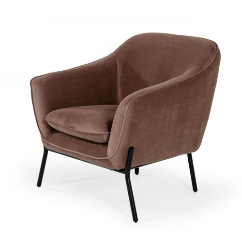 Gallery - Modrest Joiner - Modern Taupe Velvet Armchair