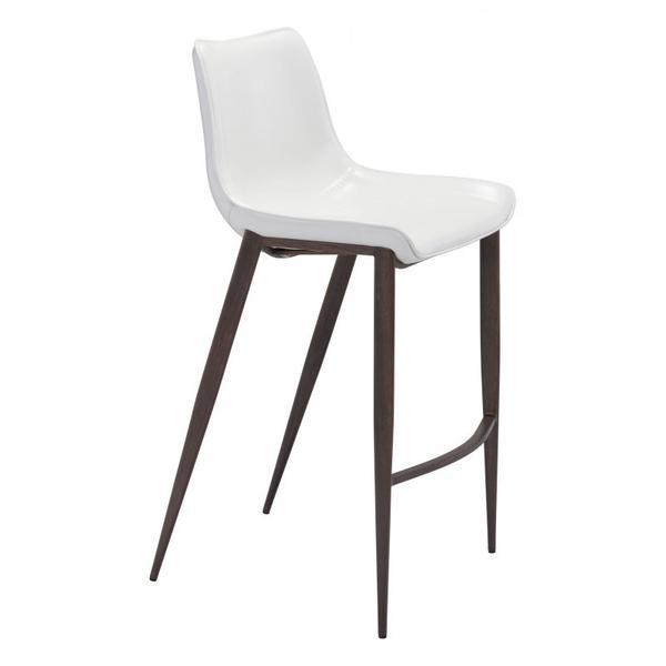Magnus Bar Chair White & Walnut