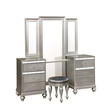 Christopher Mirrored Vanity Table with Tri-Fold Mirror