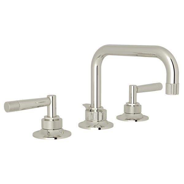 Polished Nickel Graceline U-Spout Widespread Lavatory Faucet with Metal Lever Graceline Series Only