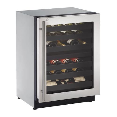 """U-Line - 2224zwc 24"""" Dual-zone Wine Refrigerator With Stainless Frame Finish and Right-hand Hinge Door Swing (115 V/60 Hz Volts /60 Hz Hz)"""