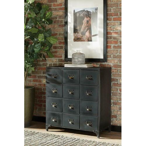 See Details - Industrial Black Accent Cabinet
