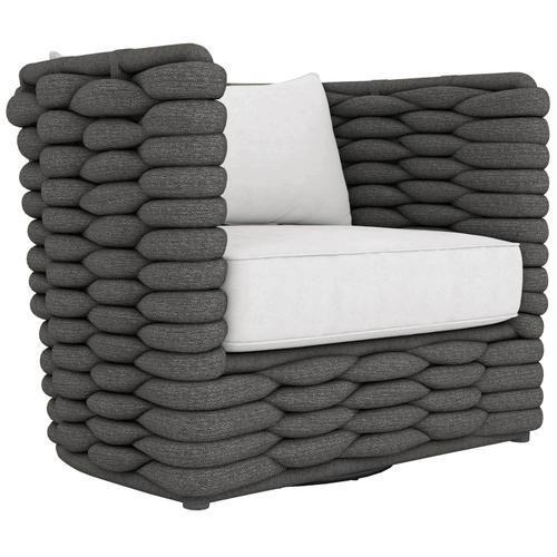Bernhardt - Wailea Swivel Chair in Knitted Sock Weave in Cadet Gray