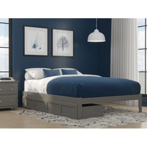 Colorado Queen Bed with USB Turbo Charger and 2 Extra Long Drawers in Grey