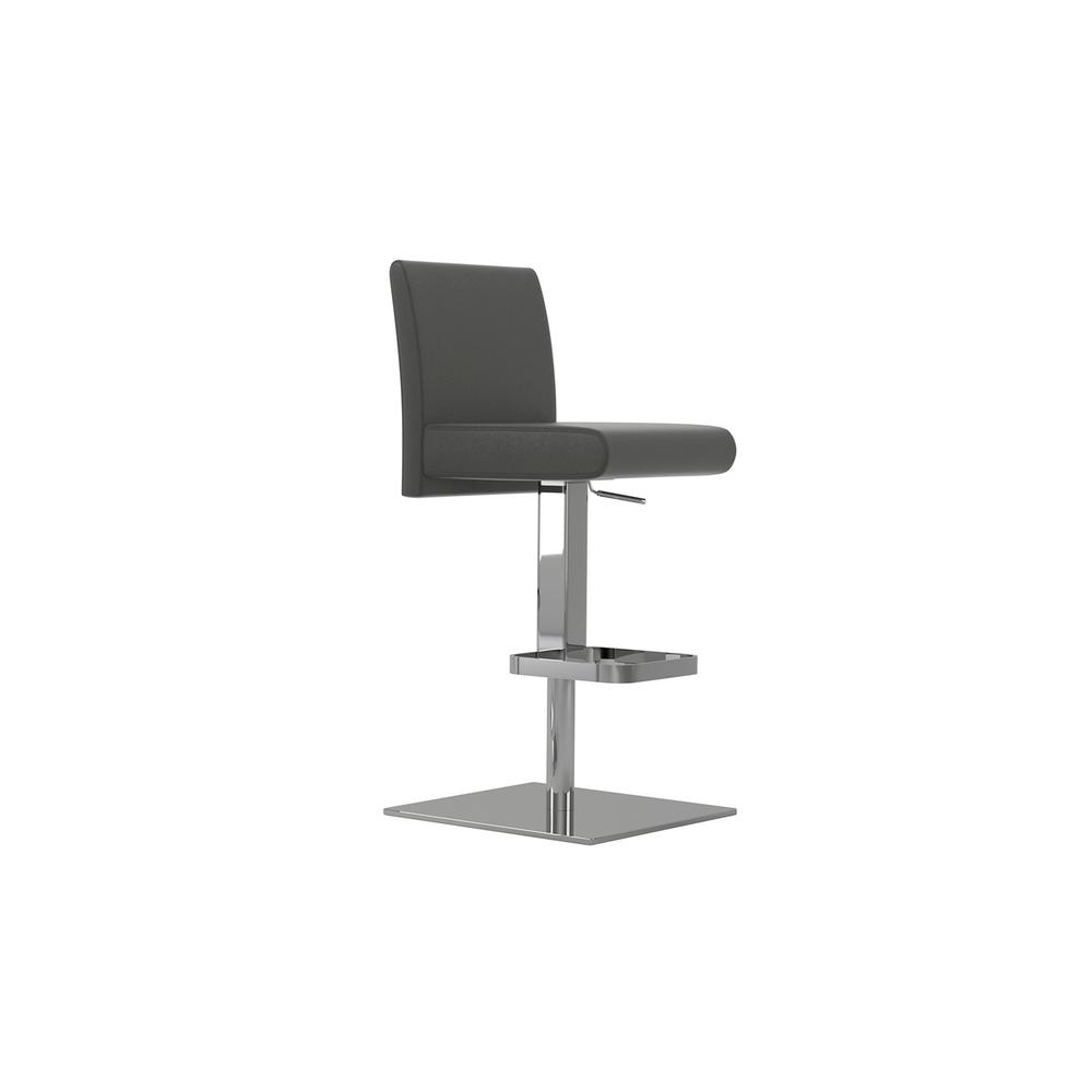 The Vittoria Adjustable Bar Stool In Dark Gray Leather With Chrome Plated Base