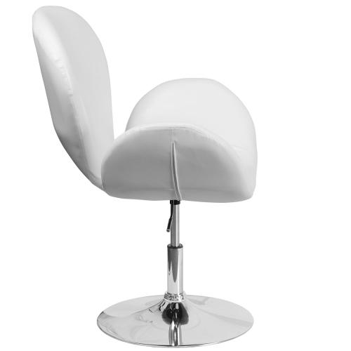 White Leather Side Reception Chair with Adjustable Height Seat