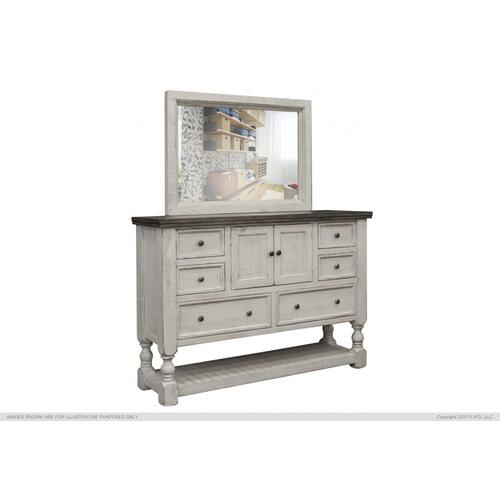 International Furniture Direct - 6 Drawer, 2 Door Dresser Stone