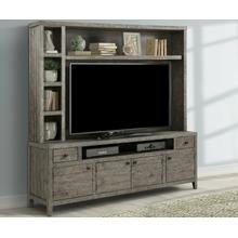 See Details - TEMPE - GREY STONE 84 in. TV Console with Hutch and Back Panel