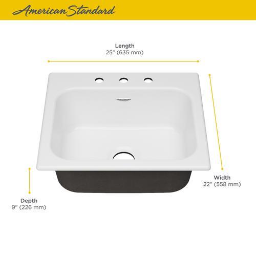American Standard - Quince 25x22-inch Single Bowl Kitchen Sink  American Standard - Brilliant White