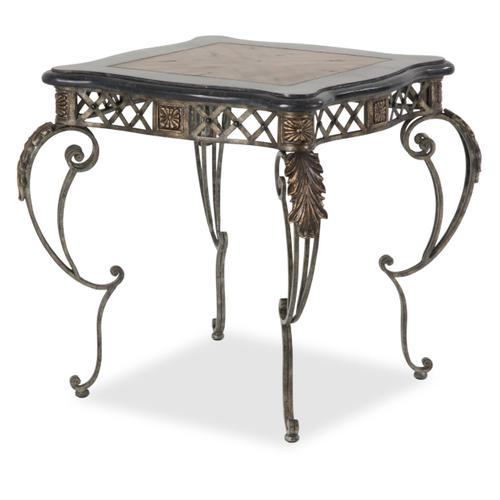 Sanchez End Table W/decorative Metal Base