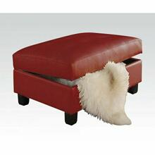 ACME Kiva Ottoman w/Storage - 51187 - Red Bonded Leather Match