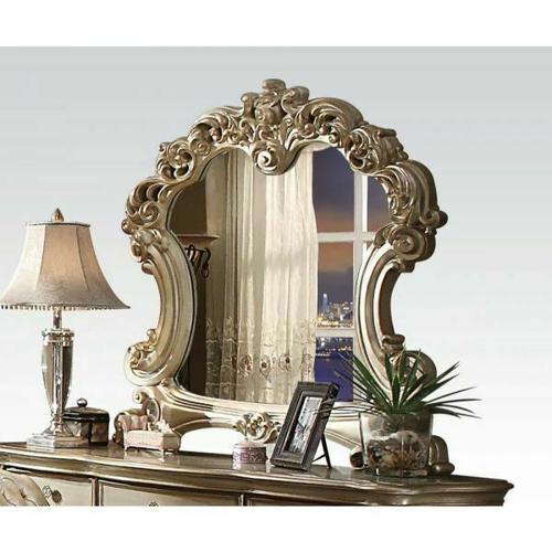 ACME Vendome Mirror - 23004 - Gold Patina & Bone