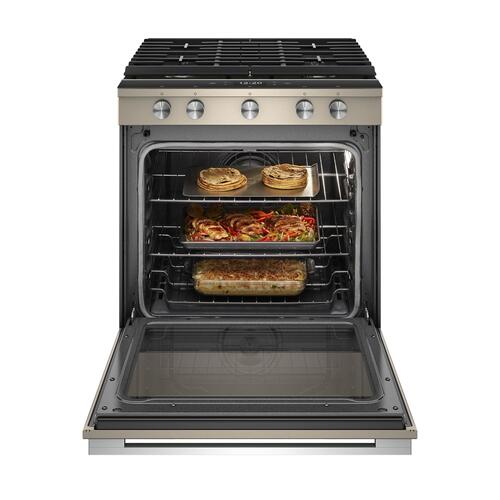 5.8 cu. ft. Smart Slide-in Gas Range with EZ-2-Lift Hinged Cast-Iron Grates Fingerprint Resistant Sunset Bronze