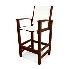 Mahogany & White Coastal Bar Chair