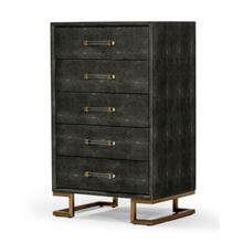 View Product - Modrest Howard - Modern Shagreen Grey Leatherette & Gold Chest