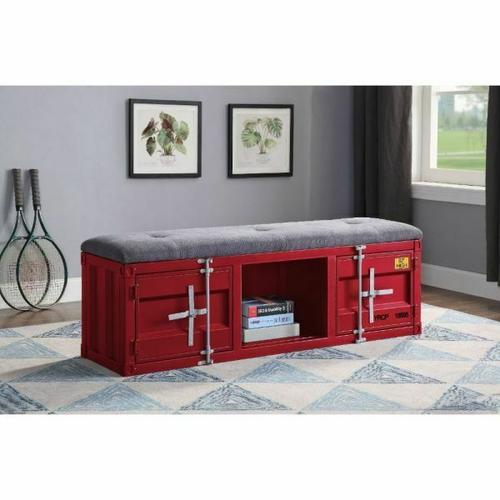 ACME Cargo Bench (Storage) - 35956 - Gray Fabric & Red