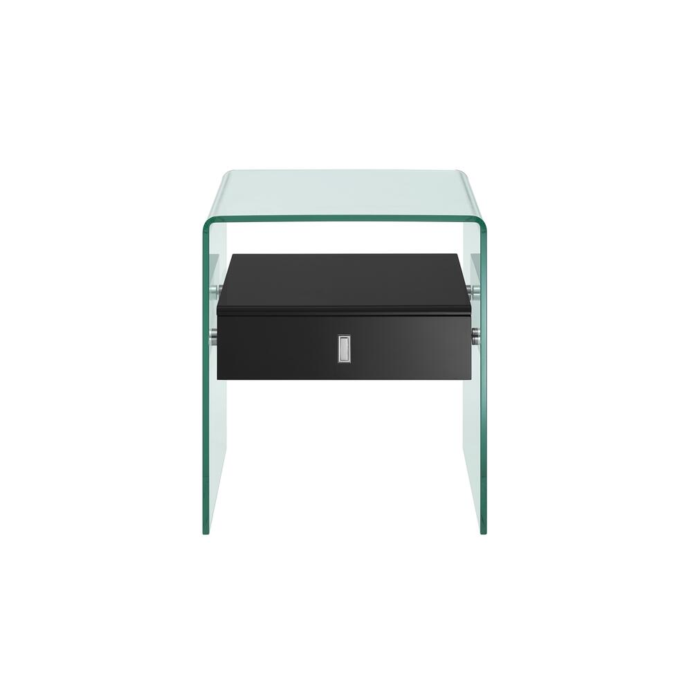 The Bari Nightstand In High Gloss Black Lacquer With Glass