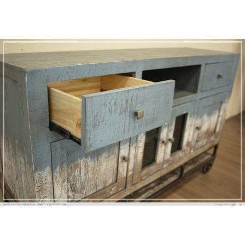 2 Drawer, 4 Door, Tv Stand, Blue finish
