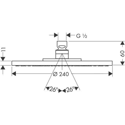 Brushed Nickel Plate overhead shower 240 1jet