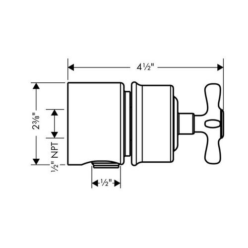 Brushed Nickel Wall outlet stop with non return valve, shut-off valve and cross handle