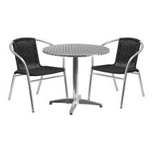 31.5'' Round Aluminum Indoor-Outdoor Table Set with 2 Black Rattan Chairs