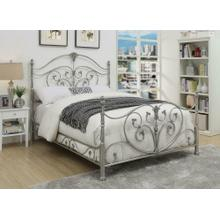 Evita Silver Metal Scrollwork Queen Bed