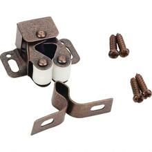 Double Roller Catch with Strike and Screws - Dark Brushed Antique Copper