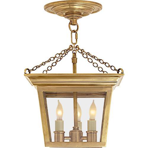 E. F. Chapman Cornice 3 Light 10 inch Hand-Rubbed Antique Brass Semi-Flush Ceiling Light