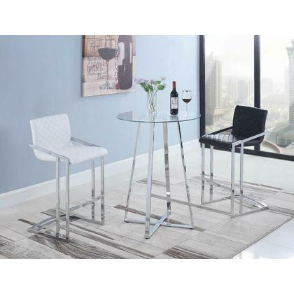 See Details - Contemporary Chrome and Glass Bar Table