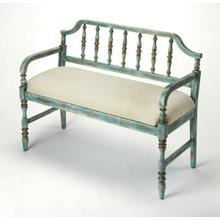 See Details - Let guests kick off their shoes in the entryway with this delightful hand painted, spindled back, bench. Featuring a weathered blue finish, crafted with Rubberwood, Plywood, a comfortable foam and cotton seat, this is an effortless update to your seating ensemble in the living room.