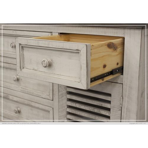6 Drawe & 2 Doors Console Ivory & Stone Finish