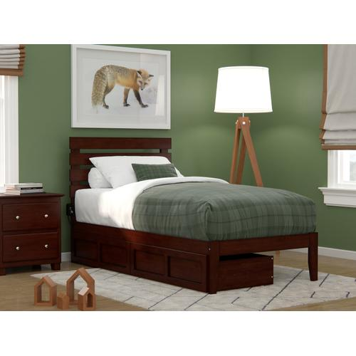 Oxford Twin Bed with USB Turbo Charger and 2 Drawers in Walnut