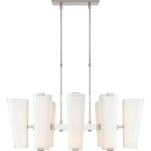 Visual Comfort - AERIN Alpine 16 Light 45 inch Polished Nickel Linear Chandelier Ceiling Light in White Glass, Medium