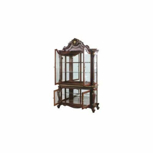 ACME Picardy Curio Cabinet - 68229 - Traditional, Vintage - Wood (Rbw), Wood Veneer (Cherry), Poly-Resin (Fiberglass), Glass, Mirror - Cherry Oak