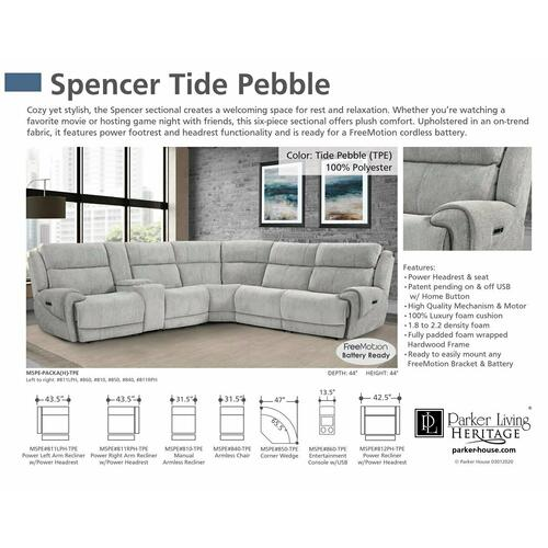 Parker House - SPENCER - TIDE PEBBLE Power Right Arm Facing Recliner