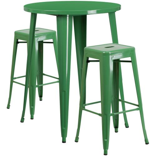 30'' Round Green Metal Indoor-Outdoor Bar Table Set with 2 Square Seat Backless Stools