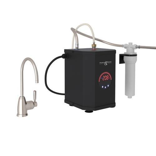 Satin Nickel Perrin & Rowe Holborn C-Spout Hot Water Faucet, Tank And Filter Kit with Contemporary Metal Lever