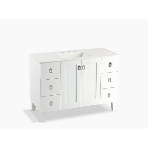 "Linen White 48"" Bathroom Vanity Cabinet With Legs, 2 Doors and 6 Drawers, Split Top Drawers"