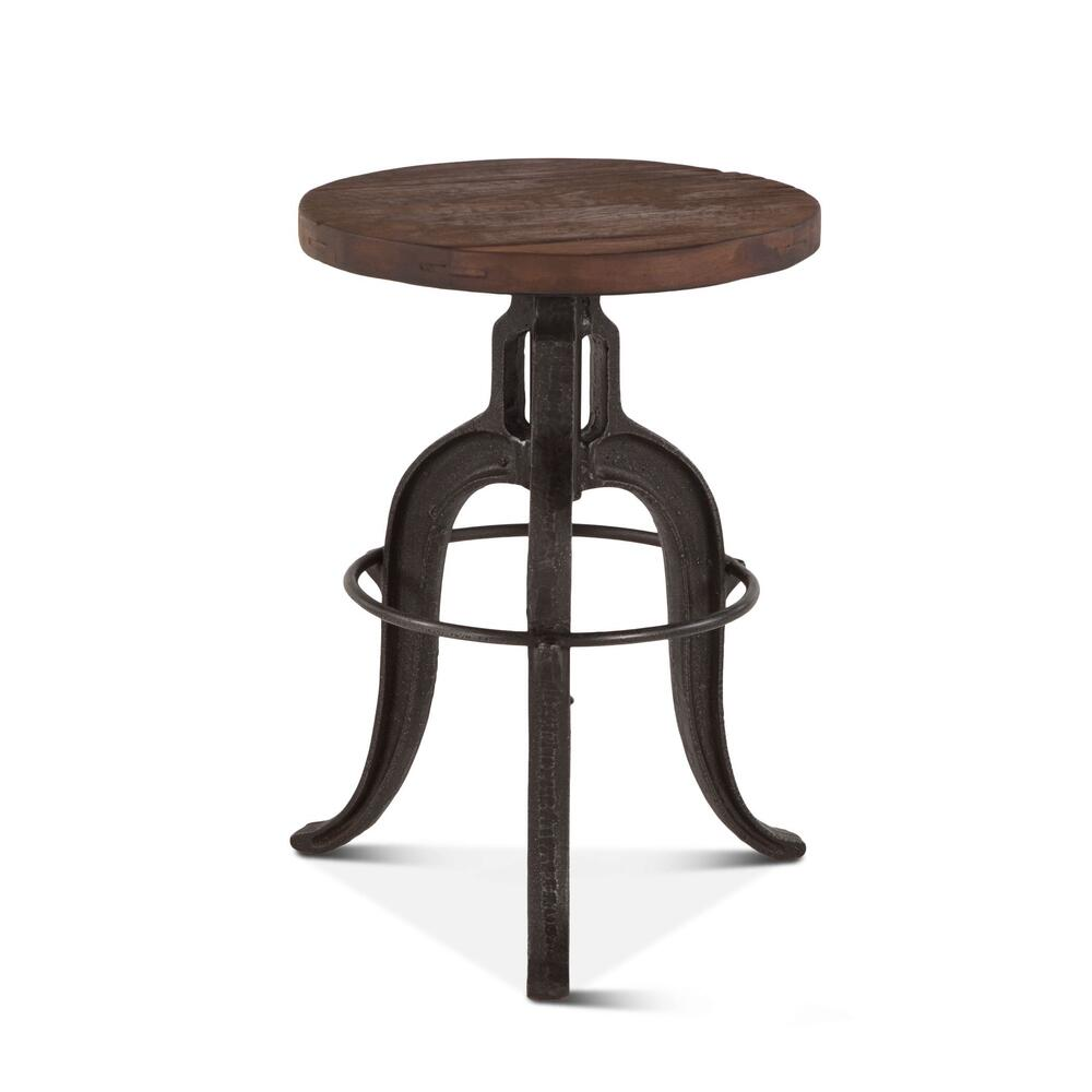 Industrial Teak Adjustable Reclaimed Wood Stool