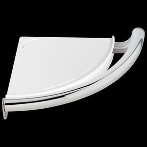 Chrome Contemporary Corner Shelf with Assist Bar Product Image