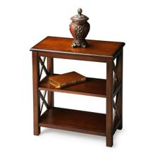 See Details - This petite bookcase is perfect wherever space is limited and book storage is needed. Crafted from hardwood solids, wood products and choice cherry veneers, it features X side supports and cherry veneer shelves. Finished on all sides.