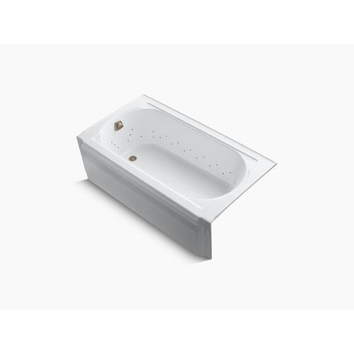 "White 60"" X 34"" Alcove Bubblemassage Air Bath With Vibrant Brushed Nickel Airjet Color Finish and Left-hand Drain"