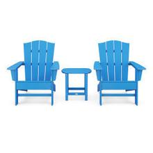 View Product - Wave 3-Piece Adirondack Chair Set with The Crest Chairs in Vintage Pacific Blue