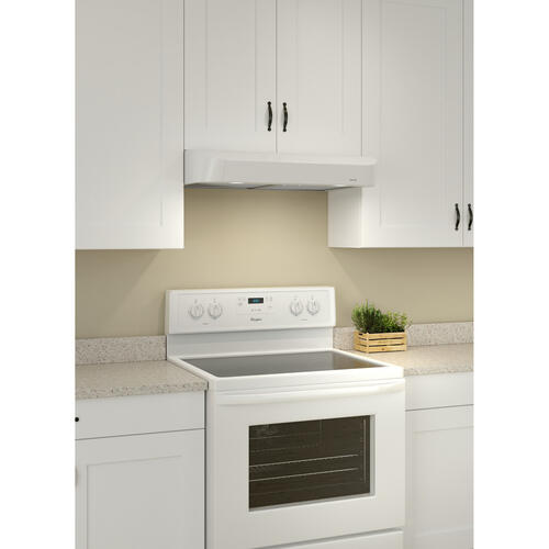 Broan® Antero 30-Inch Under-Cabinet Range Hood, 375 MAX Blower CFM, White